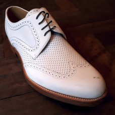 Barker London Longwing Derby Brogue Style Mens White Grain Leather Shoes (11½)