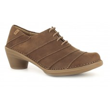 El Naturalista Aqua Pleasant Derby Style Ladies Wood Brown Shoes