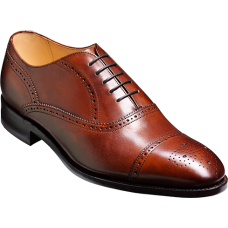 Barker Newcastle Oxford Brogue Style Walnut Calf Mens Shoes (09½)
