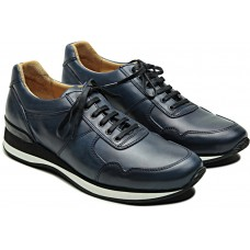 Paraboot Play/Fast Lis Bleu Dark Navy Leather Mens Lace Up Sneakers