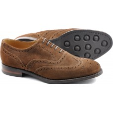 Loake Oxford Style Brogue Radley Brown Suede Leather Sole Mens Shoes