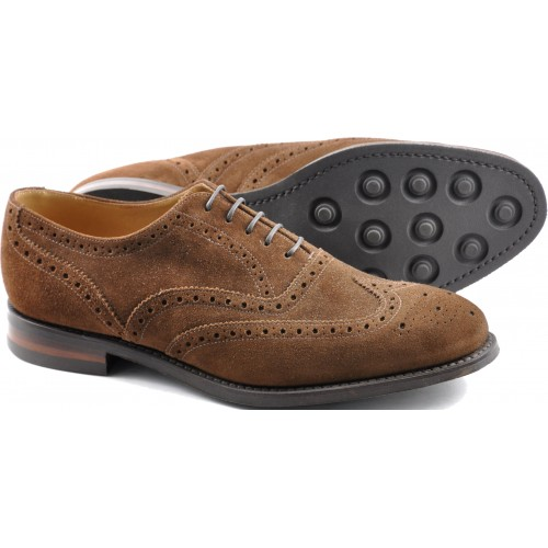 15a1b885af56f0 Loake Oxford Style Brogue Radley Brown Suede Leather Sole Mens Shoes