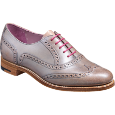 Barker Santina Oxford Brogue Style Lilac/Silver Hand Painted Ladies Leather Shoes (03½)