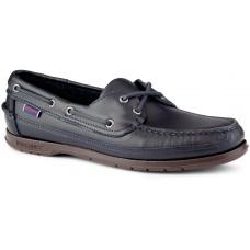 Sebago Schooner Oiled Waxy Blue Navy Brown Sole Deck Shoes