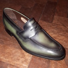 Barker Shakespeare Moccasin Loafer Style Green Calf Leather Mens Shoes (07)
