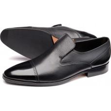 Loake Slip On Style Sherlock Mens Black Two Tone Grain Shoes (08)