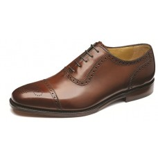 Loake Strand Semi Brogue Toe Cap Mahogany Shoes (12)