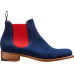 Barker Chelsea Boot Style Violet Navy Suede / Red Elastic Ladies Boots