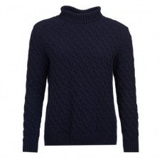 Barbour Jumper Burne Roll Collar Ladies Navy Knit