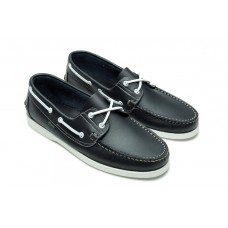 Paraboot Barth Lisse Navy Mens Leather Boat Shoes